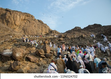 "Muslim pilgrims climb the Mount of light ""Jabal An-Nour"" where located the Hira cave. Place of first revelation to Prophet Muhammad. Mecca - Saudi Arabia: 28 August 2018"