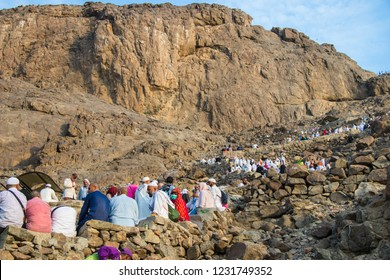 "Muslim pilgrims climb the Mount of light ""Jabal An-Nour"" where located the Hira cave. Place of first revelation to Prophet Muhammad. Mecca - Saudi Arabia: 26 August 2018"