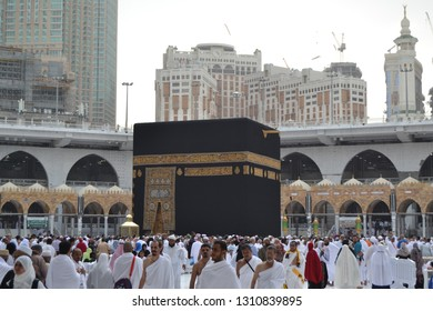 Muslim pilgrims at the kaaba great mosque of mecca/ saudi arabia-05.02.2019 / during umrah