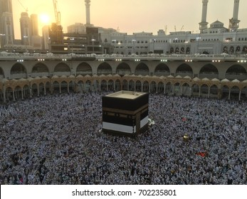 Muslim Pilgrims at The Kaaba in The Great Mosque of Mecca, Saudi Arabia, during Hajj