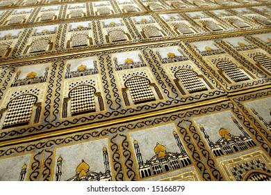 Muslim prayer mats in a mosque.