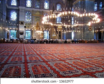 Muslim Prayers at the Blue Mosque in Istanbul