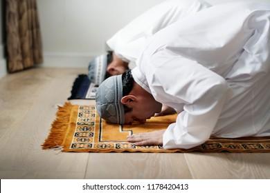 Muslim prayers in Sujud posture