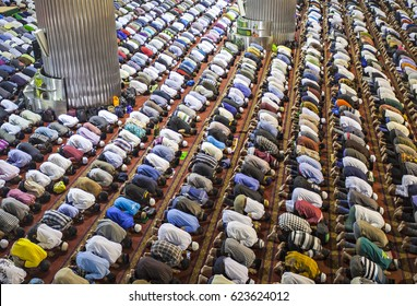Muslim Praying Together in A Mosque
