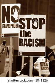 Muslim protest and protestors with picket signs 9