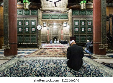 Muslim Quarter, Xi'an, Shaanxi/China- October 15 2014: Prayer hall of the Great Mosque of the Muslim Quarter, where most of the residents are Hui.