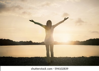 Muslim stocker woman self victory cancer wellbeing on nature background. Celebrating love God on mountain happy health free relaxed passion concept feeling freedom financial life, peace bible inspire.