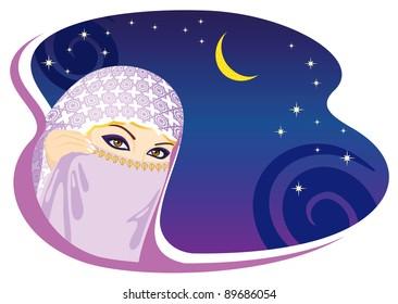 Muslim woman and arabian night. Raster version.