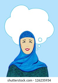 Muslim woman with an empty dream bubble above her head (space to dream)