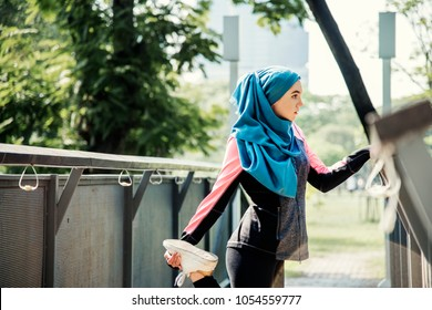 Muslim woman hijab exercise outdoor