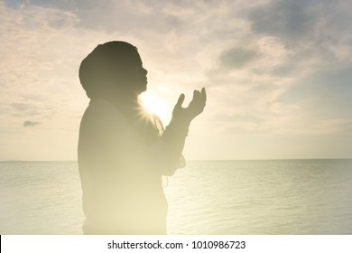 Muslim woman praying key to heaven door Prayer succeeds for business victory, Invoke Middle East peace without war, Concept person dua religious devout for hajj, Islam meditating to Ramadan for umrah