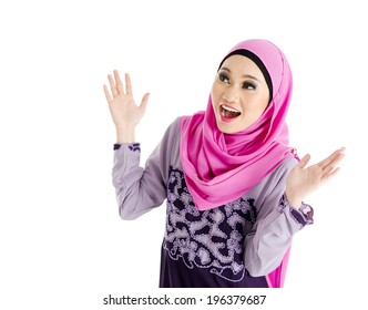 Muslim woman with surprise expression