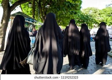 Muslim women in burka walking the streets of Sultanahmed, Istanbul.