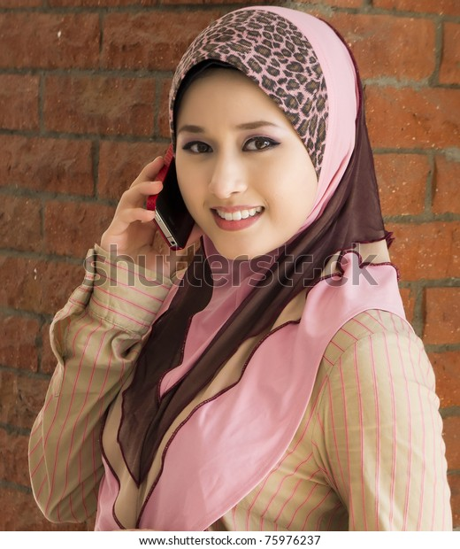 Muslim Young Girl Make Phone Call Stock Photo (Edit Now) 75976237