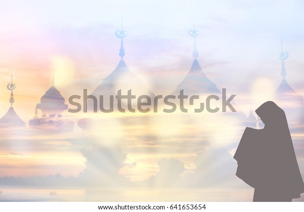 Muslim Young Woman Hijab Standing Pray Stock Photo (Edit Now