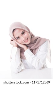 muslimah model in fashionable dress isolated in white background