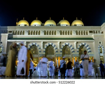 Muslims after isya' prayer at the one of the entrance of An-Nabawi Mosque in Madinah