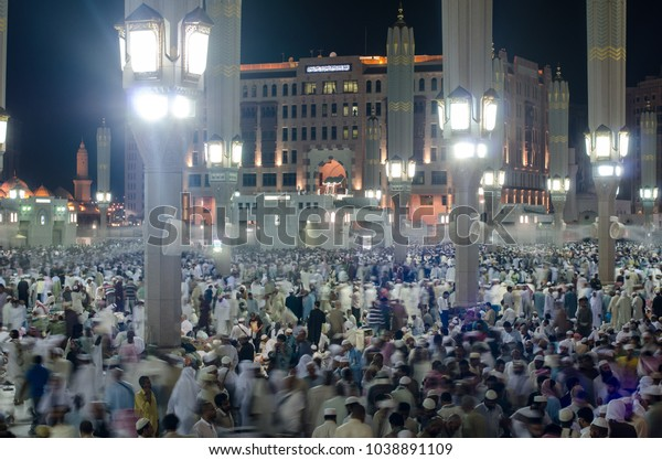 Muslims Outside Mosque Prophet Muhammad Medina Stock Photo