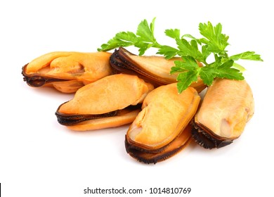 mussel with parsley leaf isolated on white background