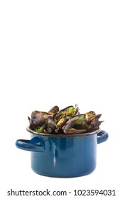 mussels in a blue ceramic pot on a white background. Healthy eating concept.