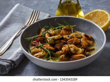 Mussels cooked with garlic, lemon and rosemary.