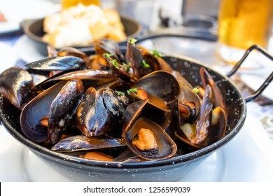 Mussels in tomato sauce served in frying pan