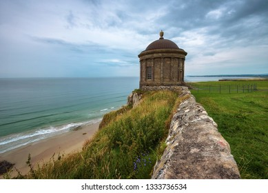 Mussenden Temple located on high cliffs overlooking Downhill Strand and the Atlantic Ocean, near Castlerock in County Londonderry in Northern Ireland, United Kingdom.