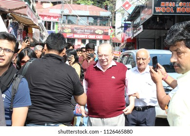 Mussoorie,Uttarakhand,India - June 5 2018:  Famous book writer Ruskin Bond coming to Cambridge Book Depot in Mussoorie for his weekly meet up with people.