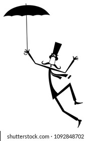 Mustache man in the top hat with umbrella isolated illustration. Mustache man in the top hat with umbrella staying on the wind black on white illustration