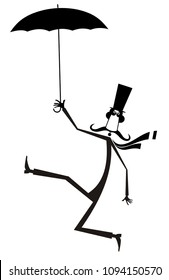 Mustache man in the top hat with umbrella isolated illustration. Mustache man in the top hat walking with umbrella black on white illustration