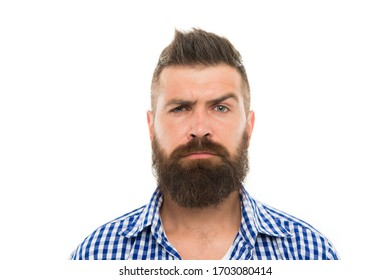mustache works in city. trendsetter hipster with mustache isolated on white. mustachioed and bearded male. after hairdresser salon. barbershop master. mustache from barber. Mature hipster with beard.