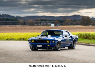 mustang muscle car on the road