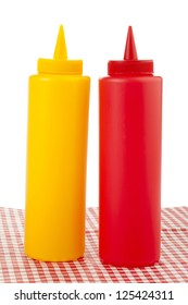 Mustard and ketchup in a squeeze bottles