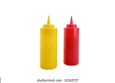 mustard and ketchup squirt bottles isolated on white