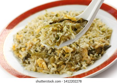 mustard leaf fried rice, chinese cuisine isolated on white background