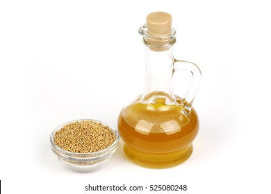 Mustard oil is poured into the bottle