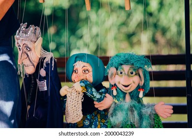 muster of puppets. street theater. marianette dolls - Shutterstock ID 2000043239