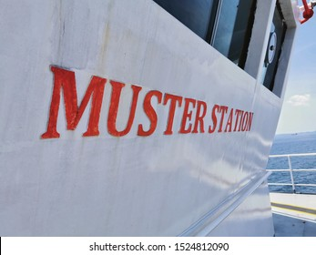 Muster statiom signage on board a marine offshore vessel. Muster station is an assembly location for all vessel crew in case of emergency triggered onboard.  - Shutterstock ID 1524812090