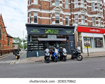MUSWELL HILL, LONDON - AUGUST 21, 2021: Shops in the centre of Muswell Hill, North London