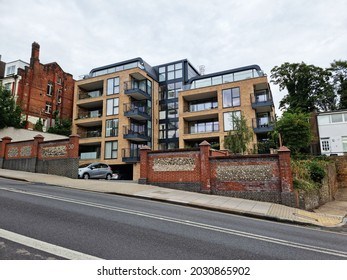 MUSWELL HILL, LONDON - AUGUST 21, 2021: An apartment block near the centre of Muswell Hill, North London