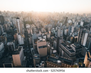 Muted Sao Paulo Aerial Downtown Skyline with Blue Sky and White Clouds - Brazil