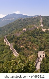 mutianyu part of the great wall in a sunny day