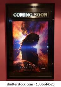MUTIARA DAMANSARA, SELANGOR, MALAYSIA,  FEBRUARY 2, 2019 - A beautiful standee of a movie called X-Men : Dark Phoenix display at the cinema to promote the movie