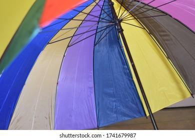 muticolor umbrella in rainbow colors