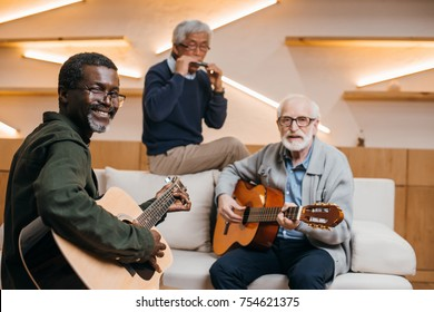 mutiethnic group of senior friends playing music with guitars and harmonica