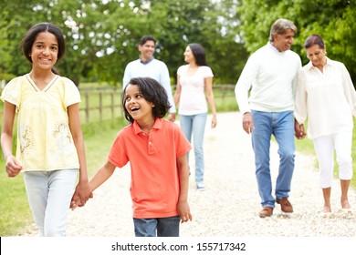 Muti-Generation Indian Family Walking In Countryside