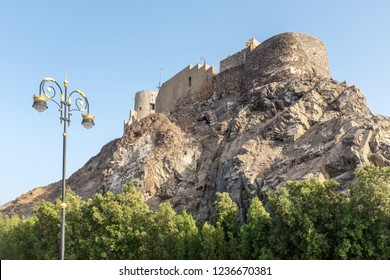 Mutrah Fort, built by the Portuguese in the 16th century,  which overlooks the Port of Sultan Qaboos in the Mutrah district of Muscat in Oman