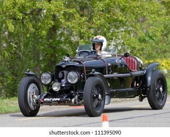 MUTSCHELLEN, SWITZERLAND-APRIL 29: Vintage pre war race car Riley Speed Adelphina from  1936 at Grand Prix in Mutschellen, SUI on April 29, 2012.  Invited were vintage sports cars and motorbikes.