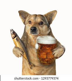 The mutt dog is holding a glass of beer and smoked mackerel. Isolated. White background.