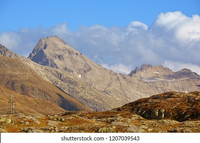The Muttenhorner mountain (left of centre) seen from the Grimsel Pass in the Southern Swiss Alps